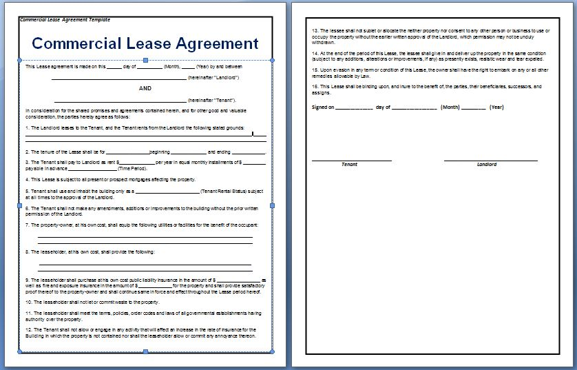 commercial lease agreement template free free agreement templates