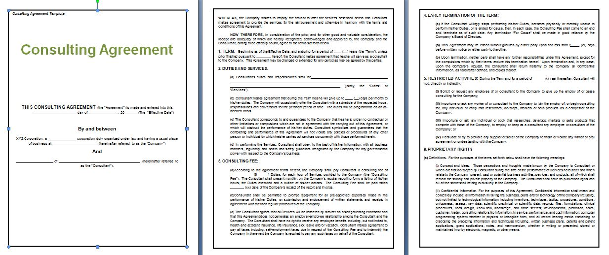 consulting agreement template free free agreement templates