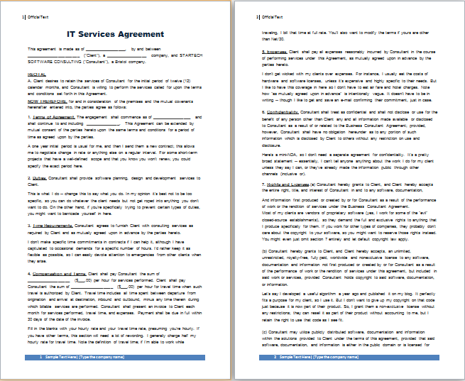 MS Word IT Services Agreement Template | Free Agreement Templates