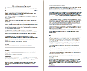 advertising agency agreement template