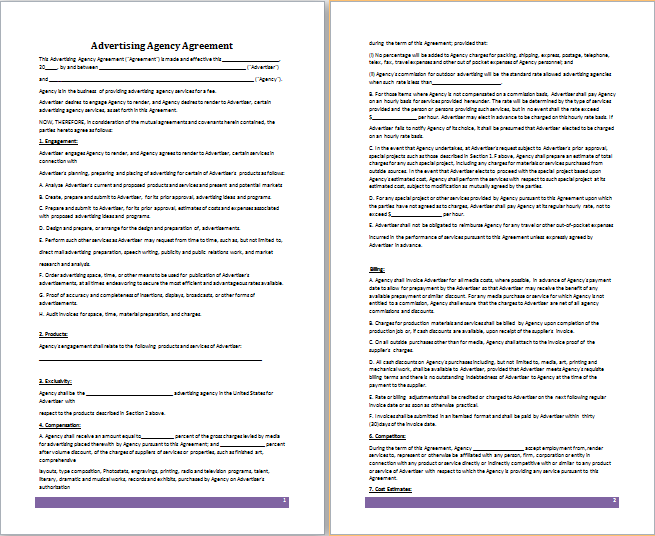 Perfect Advertising Agency Agreement Template