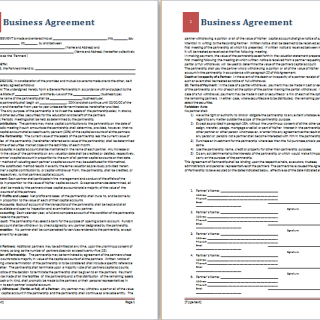 Official Business Agreement Sample  Agreement Templates