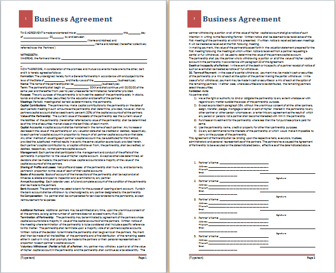 Ms word business agreement template free agreement templates business agreement template flashek