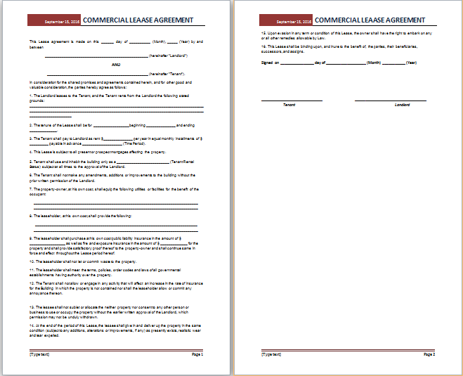 MS Word Commercial Lease Agreement Template – Format of Lease Agreement