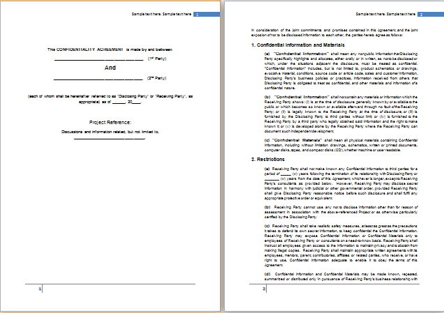 MS Word Confidentiality Agreement Template – Sample Confidentiality Agreement