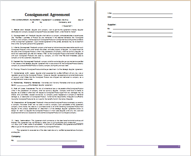 Ms word consignment agreement template free agreement for Consignment store contract template