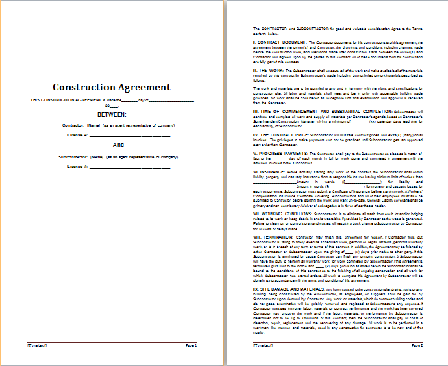 MS Word Construction Agreement Template | Free Agreement Templates