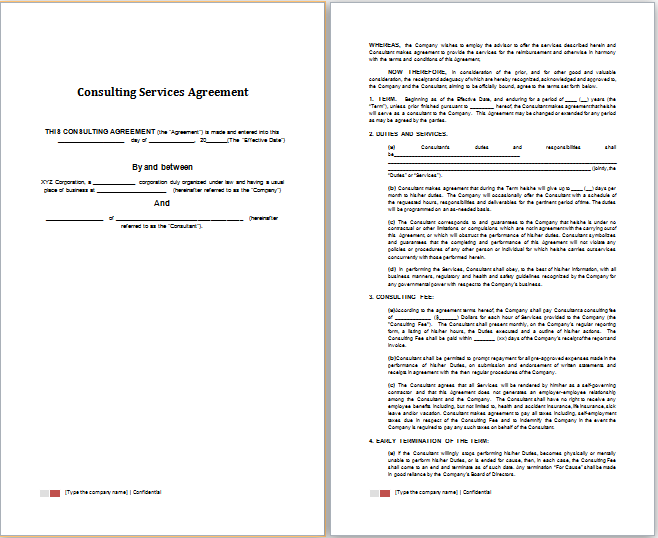 Word Consulting Services Agreement Template – Consulting Service Agreement