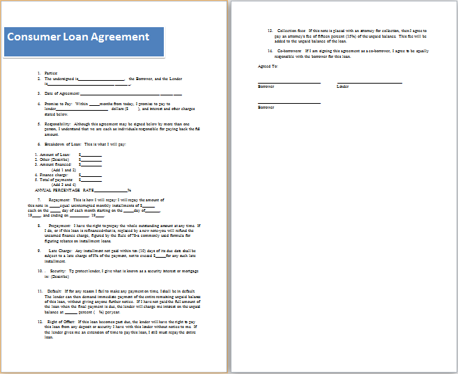Consumer Loan Agreement  Loan Templates