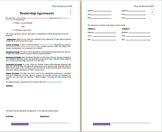 MS Word Dealership Agreement Template