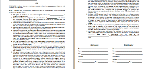 distributor agreement template
