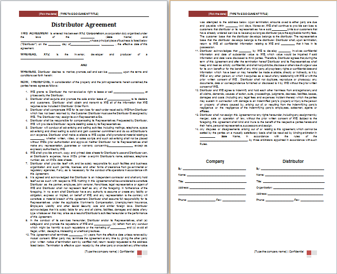 Distributor Agreement Template Free