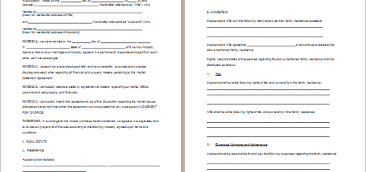 MS Word Staff Training Agreement Template – Sample Divorce Agreement