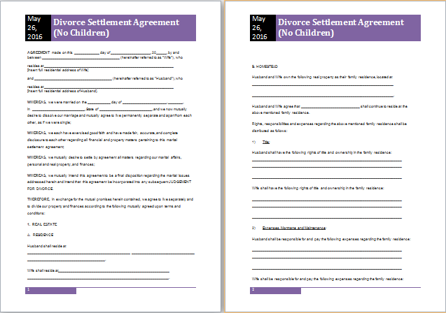 MS Word Divorce Settlement Agreement Template – Sample Divorce Agreement
