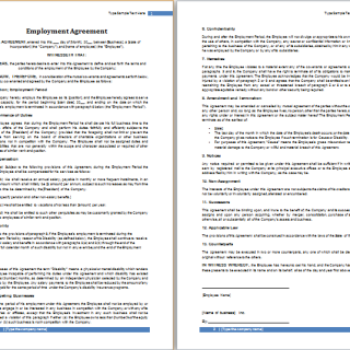 employment agreement sample template