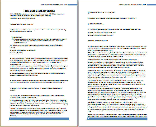 ms word farm land lease agreement template free