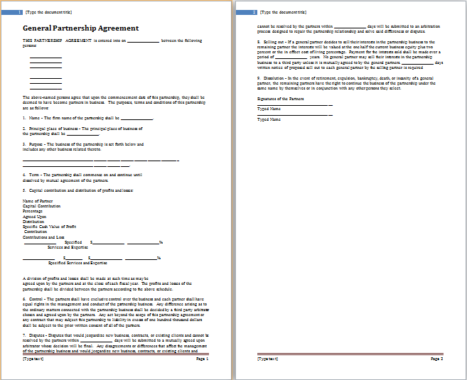 5 Best Professional Partnership Agreement Templates | Free ...