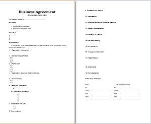 generic business agreement format