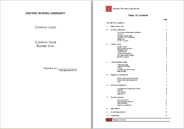 MS Word Industry Business Agreement Template – Business Agreement Templates