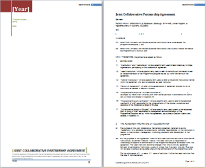 joint collaborative partnershsip agreement template