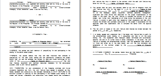 MS Word Loan Agreement Templates – Joint Venture Agreement Sample Word Format