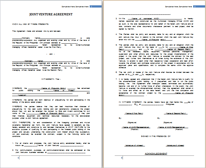 Joint Venture Agreement Template  Joint Venture Agreements Sample