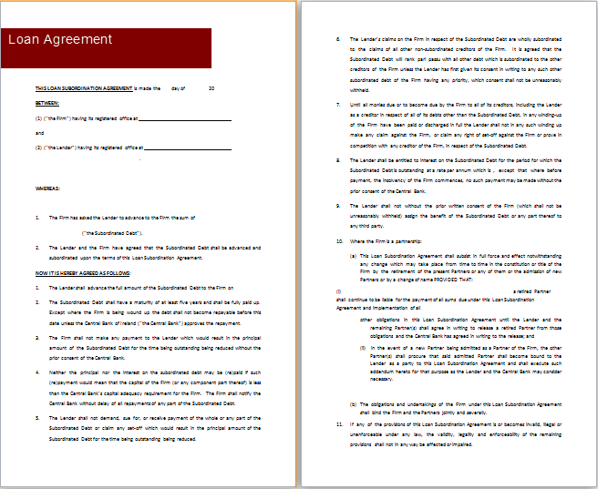 MS Word Loan Agreement Templates – Loan Agreement Word Document