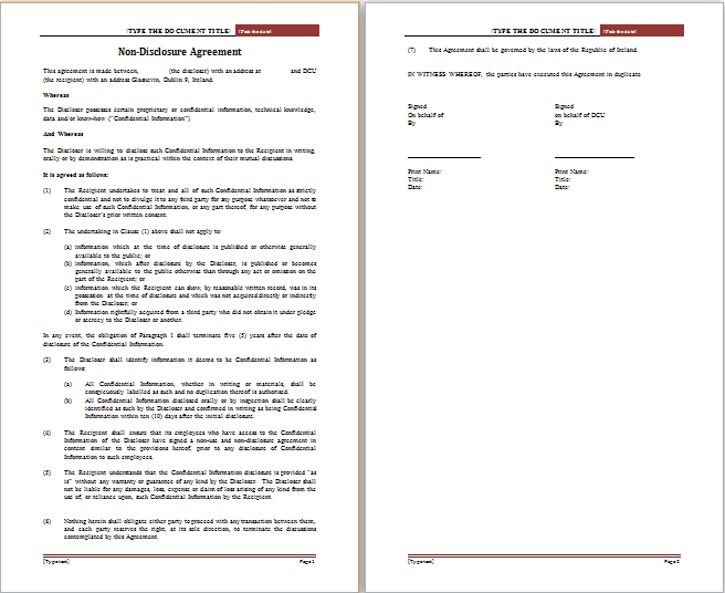 Non Disclosure Agreement Template  Nda Template Word