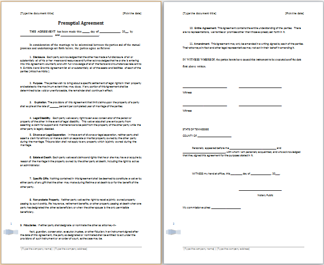 MS Word Prenuptial Agreement Template – Sample Prenuptial Agreement Template