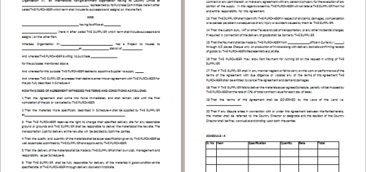 MS Word Sales Agreement Template – Free Business Purchase Agreement