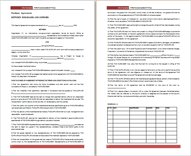Purchase Agreement Template  Purchase Agreement Template