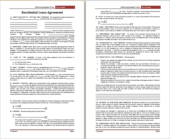 MS Word Residential Lease Agreement Template
