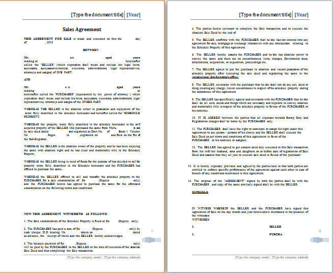 MS Word Sales Agreement Template – Ms Word for Sale