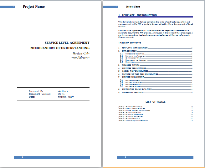 Ms Word Service Level Agreement Template Free Agreement