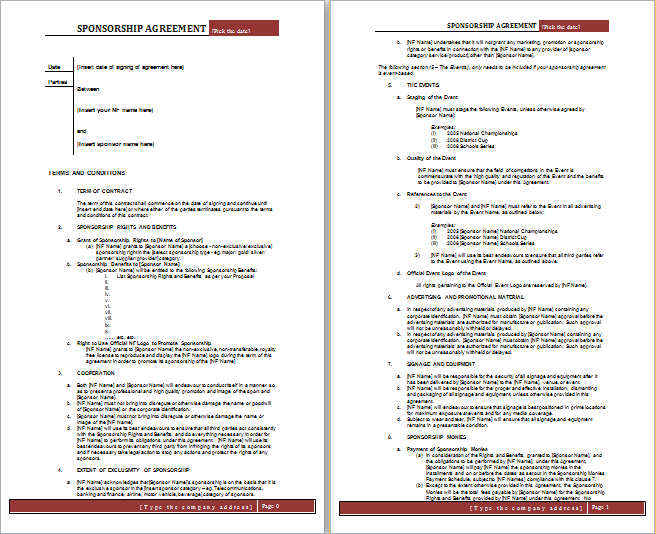 Sponsorship Agreement Template  Agreement Template Free