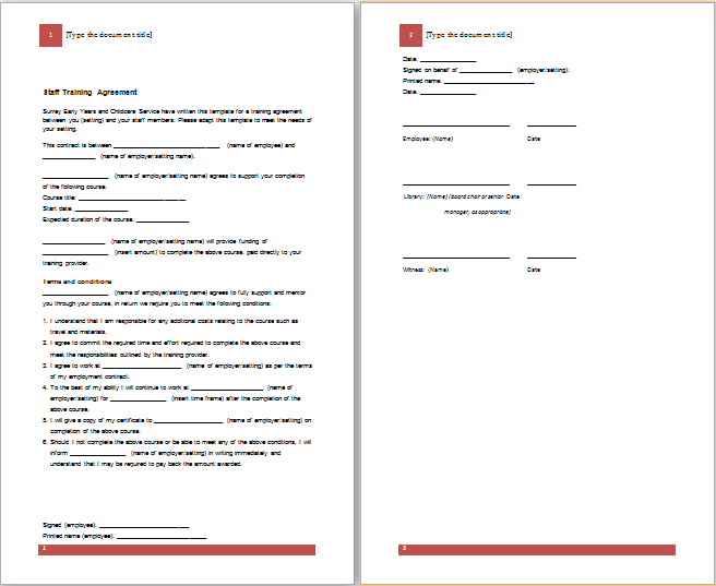 Doc25503300 Employee Training Contract Sample Employee – Training Agreement Template