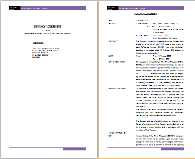 Tenancy Agreement Template. Tenancy Agreement Microsoft Word ...  Microsoft Word Rental Agreement