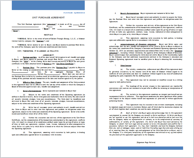 6 Best Formal Purchase Agreement Templates